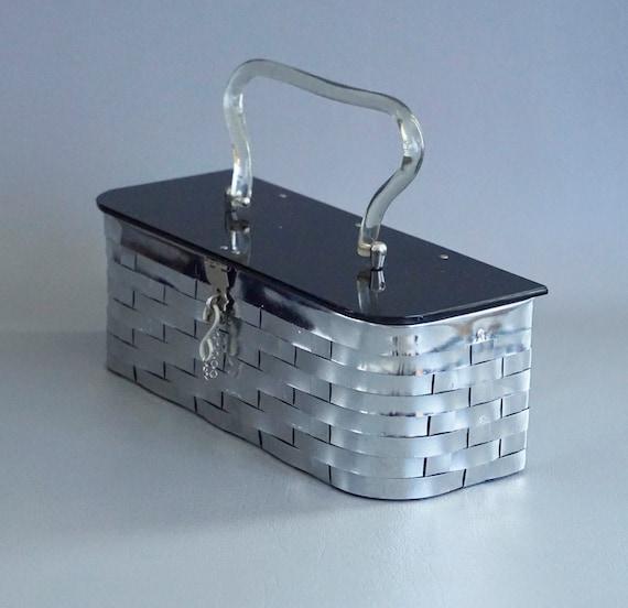 Vintage Handbag, Metal Weave Box Purse, Mid Centur