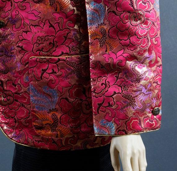 1980s Blazer, Hot Pink and Gold Brocade Jacket, C… - image 8