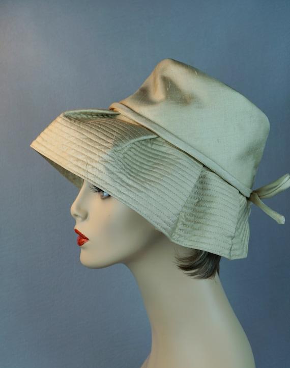 Vintage Hat, Gold Silk Hat, Floppy Wide Brim, 1970