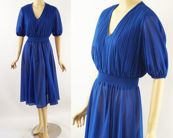 Vintage 1970s Dress Royal Blue Sheer Skirt with Crystal Pleat Bodice by Samuel Blue Sz S - M