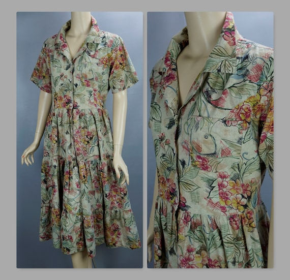 Vintage Dress, 90s Phool Dress, Floral Cotton Butt