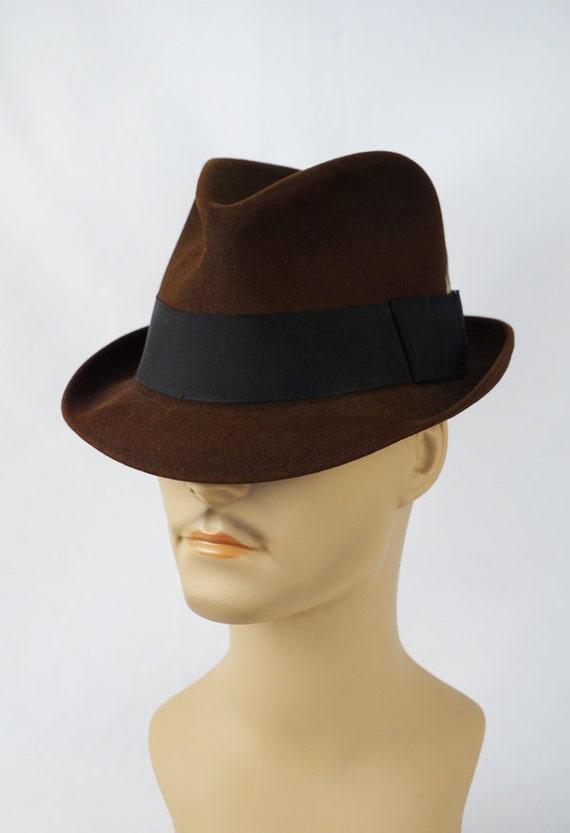 Vintage Dark Brown Trilby Fedora Hat Blue Chip by Champ Sz 7  1a3cc4a5ef8
