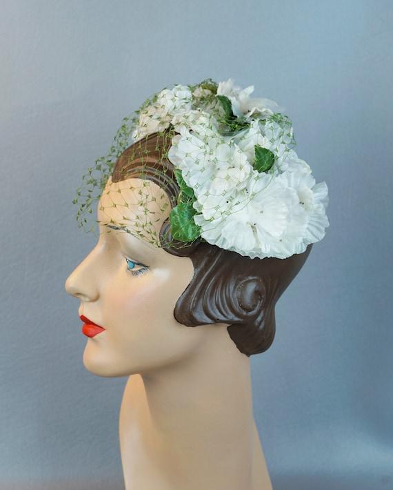 Vintage Hat, White Floral Clip Hat, Veiled Clip Ha