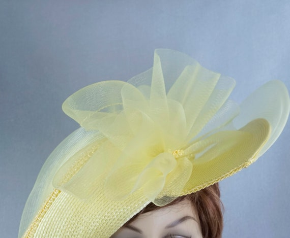 Statement Hat, Yellow Wide Brim Hat, Yellow Straw… - image 6