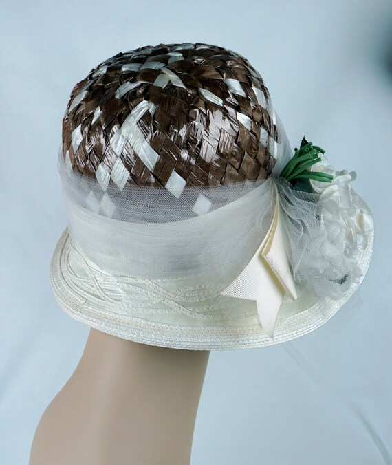 Capeline Wide Brim Hat, Taupe and Ivory Hat, Flor… - image 6