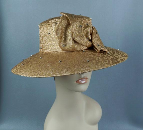 Wide Brim Hat, Gold Brocade Statement Hat, Rhines… - image 5