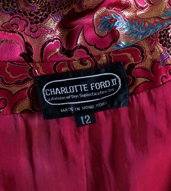 1980s Blazer, Hot Pink and Gold Brocade Jacket, C… - image 10