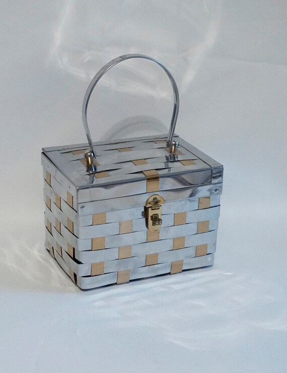 Vtg Metal Box Handbag, 1950s Handbag, Silver and G