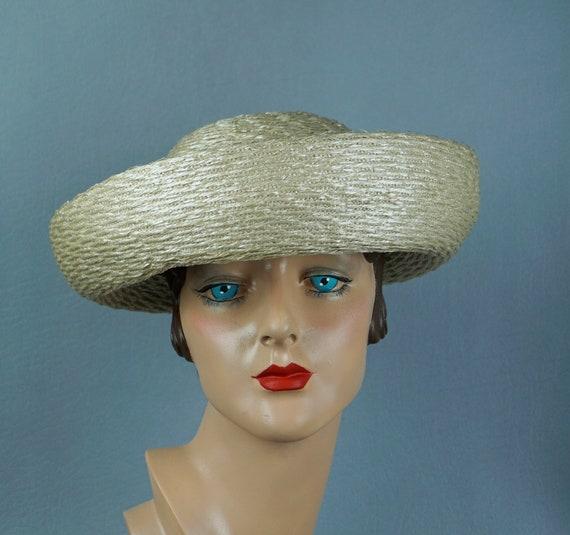 Vintage Hat, 1960s Breton Hat, Ivory Straw Breton,