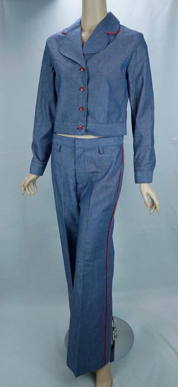 Vtg Pantsuit, MOD Pant Suit, Denim Suit, Bell Bot… - image 7