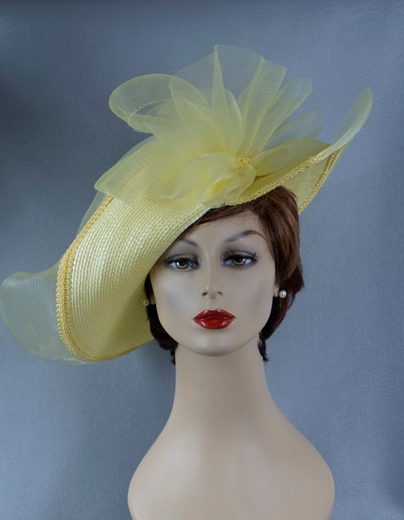 Statement Hat, Yellow Wide Brim Hat, Yellow Straw