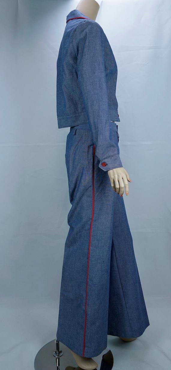 Vtg Pantsuit, MOD Pant Suit, Denim Suit, Bell Bot… - image 9