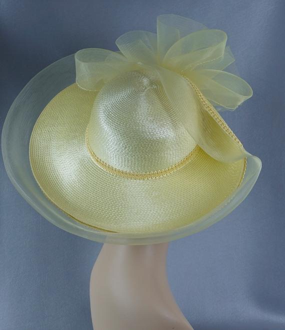 Statement Hat, Yellow Wide Brim Hat, Yellow Straw… - image 3