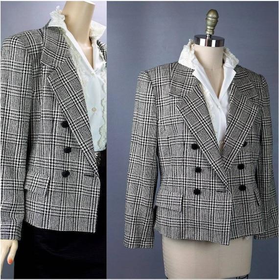 Vintage Silk Jacket, Houndstooth Silk Jacket, Blac