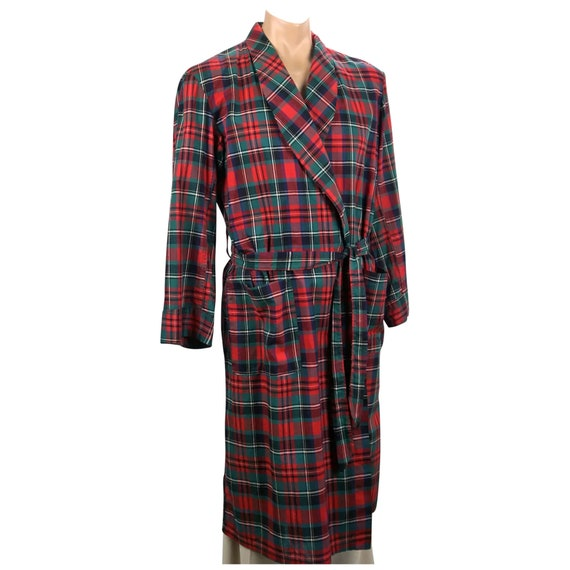 Vtg Mens Robe, Red Plaid Robe, Cotton Robe, Loungi