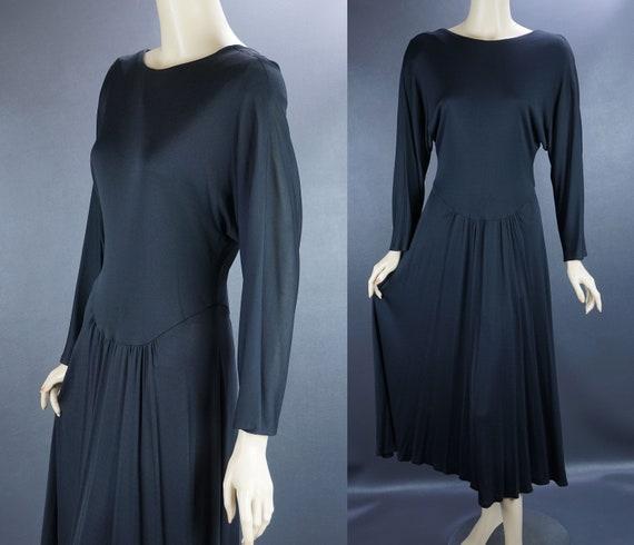 Vintage Dress, Black Jersey Dance Dress, Kappi Jer