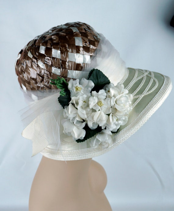 Capeline Wide Brim Hat, Taupe and Ivory Hat, Flor… - image 8