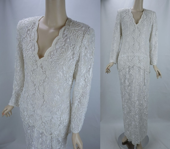 Pearl Evening Gown, White Beaded Formal Gown, Bead