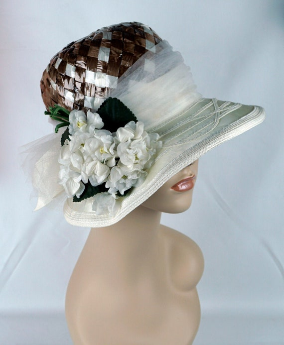 Capeline Wide Brim Hat, Taupe and Ivory Hat, Flor… - image 1