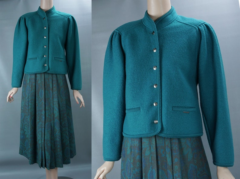 1990s Vintage Geiger Suit Made in Austria Size 6 Teal Boiled Wool Jacket w Teal Gold Pleated Skirt