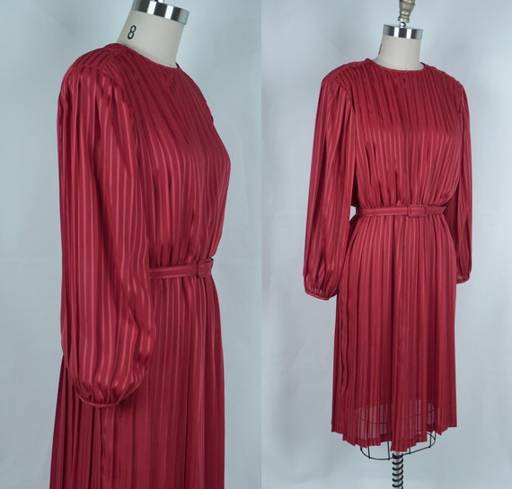 1980s Dress, Bright Red Pleated Dress, Balloon Bis