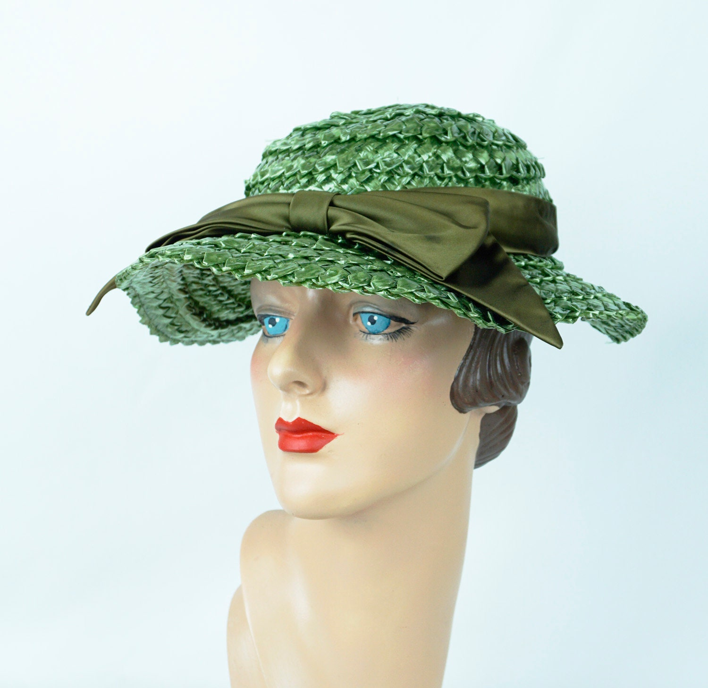 80d2989ec Forest Green Wide Brim Straw Hat, Wavy Brim Wide Weave Summer Hat, Vintage  Betmar Wide Brim Hat, Sz 21 1/2