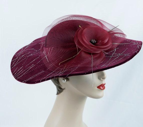 Statement Hat, Wine Wide Brim, Wavy Brim Hat, Asym