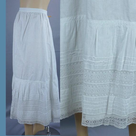 Antique Cotton Petticoat, 1900s Midi Length Pettic