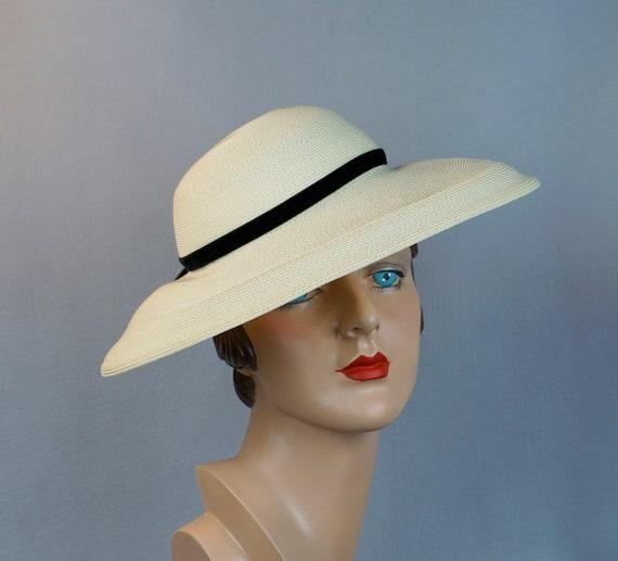 Vtg 50s Hat, Ivory Wide Brim Hat, Wide Mushroom Br