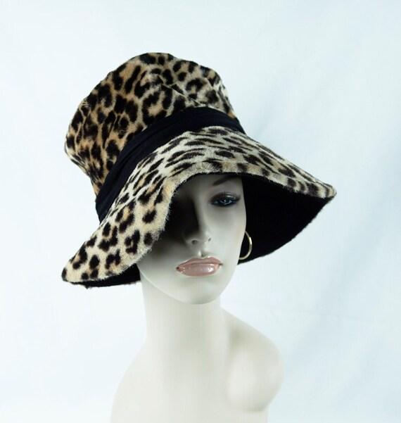 70s Floppy Brim Hat, Animal Print Wide Brim, Vtg F