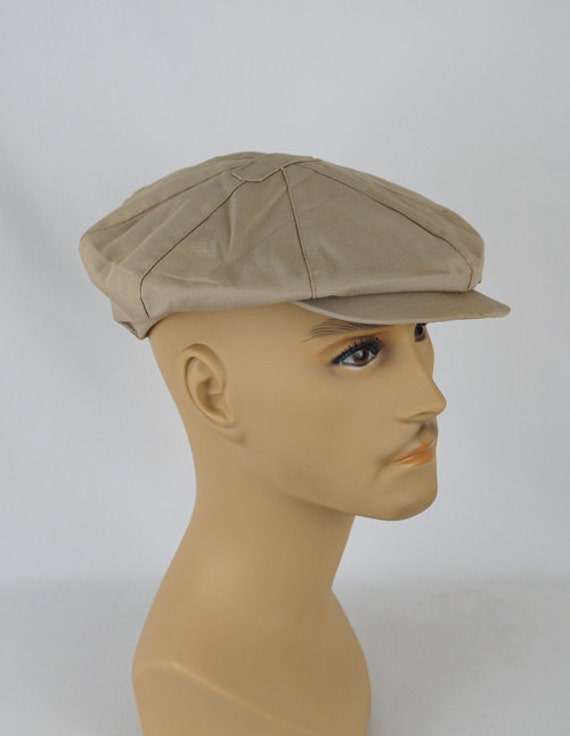 Vintage Newsboy Cap Khaki Twill 8 Panel Hat with Earflaps by  6c72b1708859