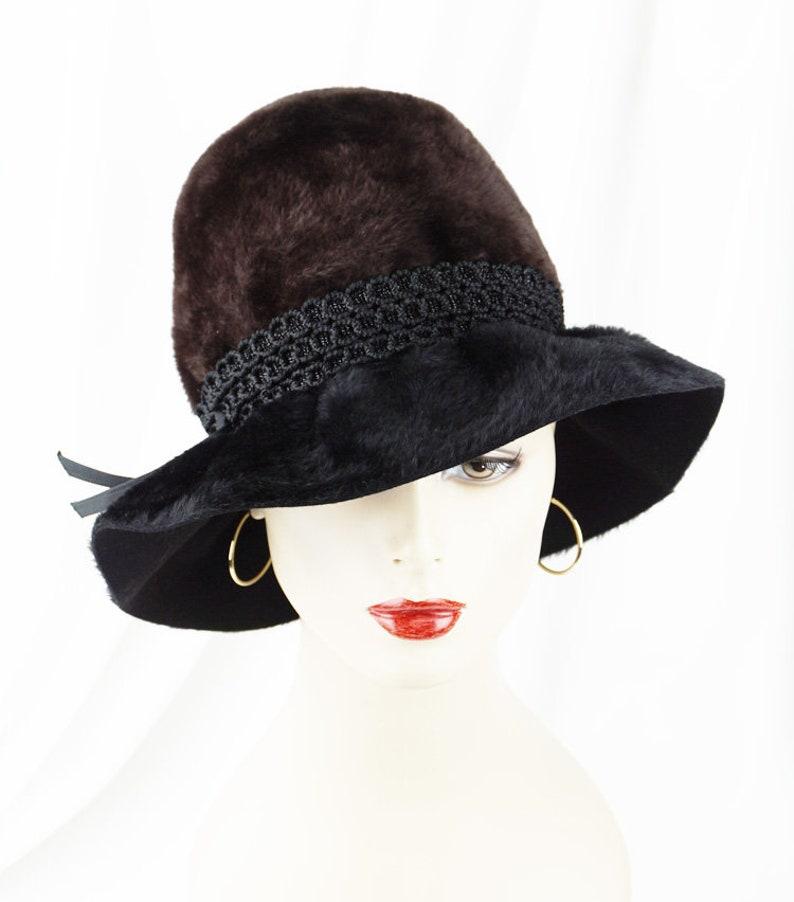 1884cc330 Jacques Heim Hat, 60s Vintage Fedora, Black and Brown Faux Fur Brimmed  Cloche, Sz 21