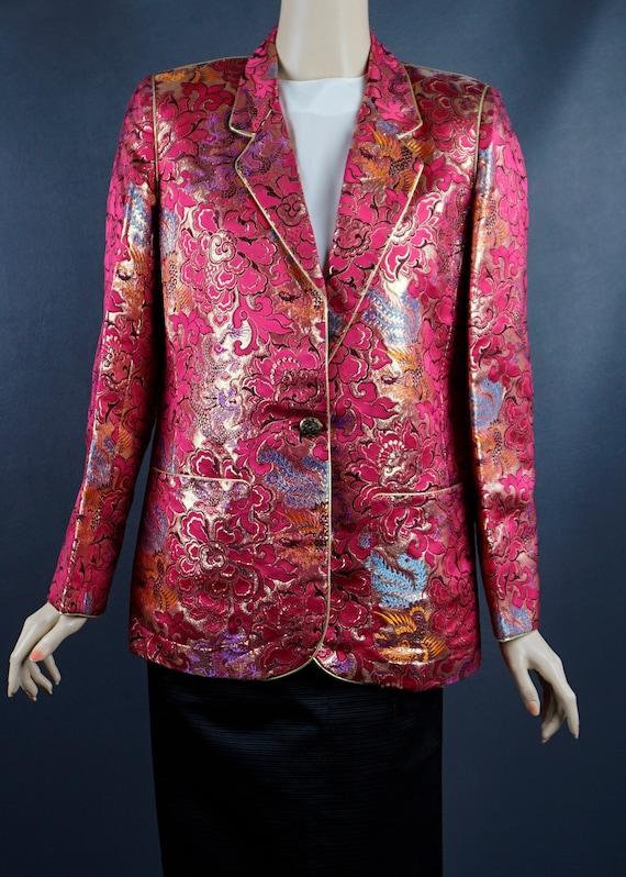 1980s Blazer, Hot Pink and Gold Brocade Jacket, C… - image 7