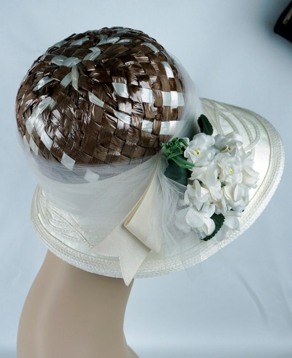 Capeline Wide Brim Hat, Taupe and Ivory Hat, Flor… - image 7
