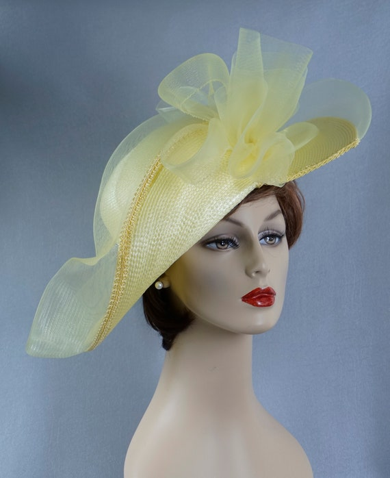 Statement Hat, Yellow Wide Brim Hat, Yellow Straw… - image 5