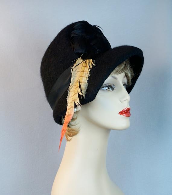 Vintage Hat, Black Faux Fur Bucket Style, 60s Feat