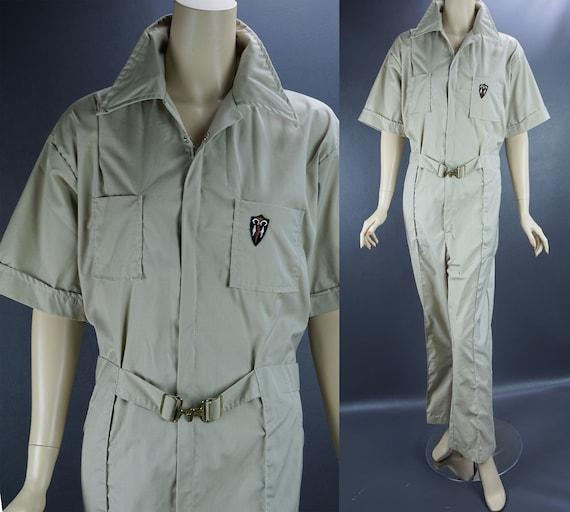 Vtg Para Suit Coveralls, Khaki Jumpsuit, Short Sle