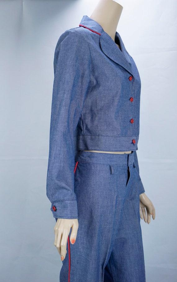 Vtg Pantsuit, MOD Pant Suit, Denim Suit, Bell Bot… - image 3