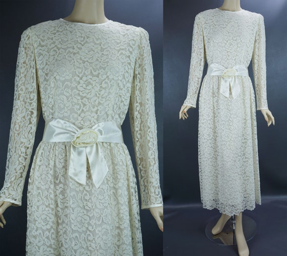 Ivory Lace Dress, Formal Midi Lace Gown, Party Bri