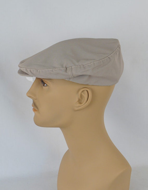 Vintage Mans Hat Khaki Canvas Adjustable Flat Cap Sz M L NOS  a3f92352f425