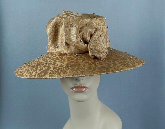Wide Brim Hat, Gold Brocade Statement Hat, Rhines… - image 2