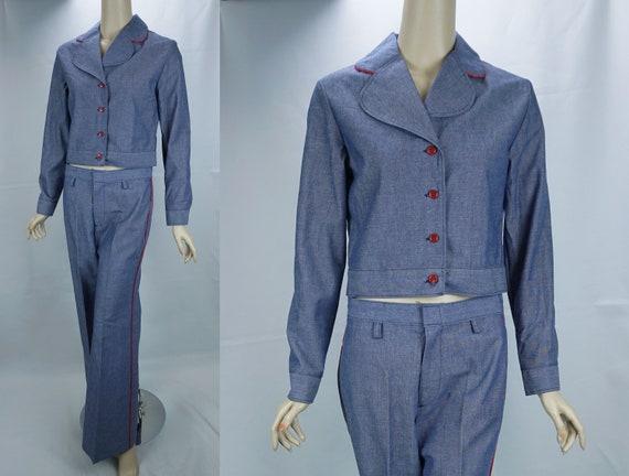 Vtg Pantsuit, MOD Pant Suit, Denim Suit, Bell Bot… - image 2