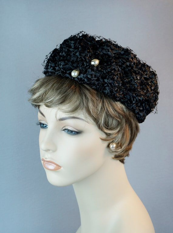 Vintage Hat, 1960s Straw Pillbox, Cello Straw Pill