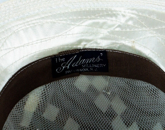 Capeline Wide Brim Hat, Taupe and Ivory Hat, Flor… - image 10