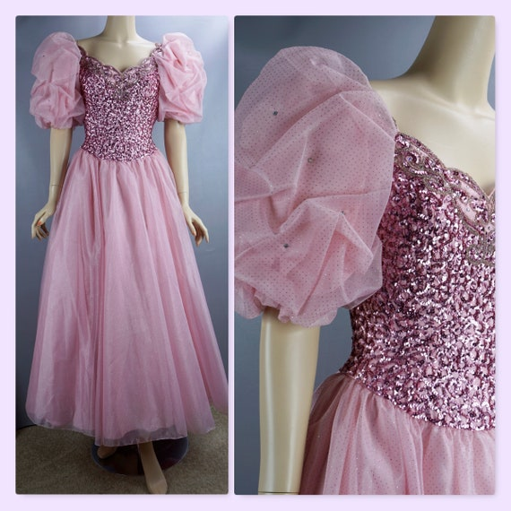 Vintage 80s Ballgown, Pink Sequin Gown, Mike Benet