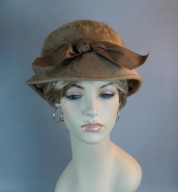 Vintage Hat, Faux Fur Brimmed Cloche, Taupe Bucket