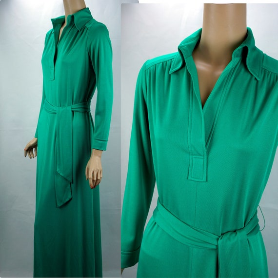 Vintage Maxi Gown, Kelly Green Gown, 1980s Formal