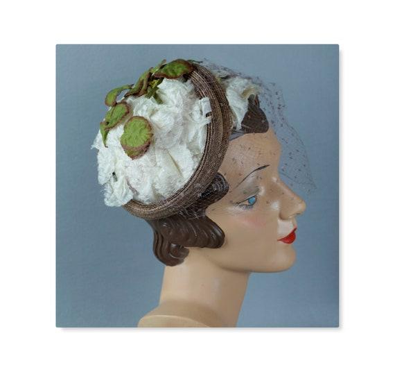 Vintage Hat, 50s Floral Toque, English Half Hat, 5