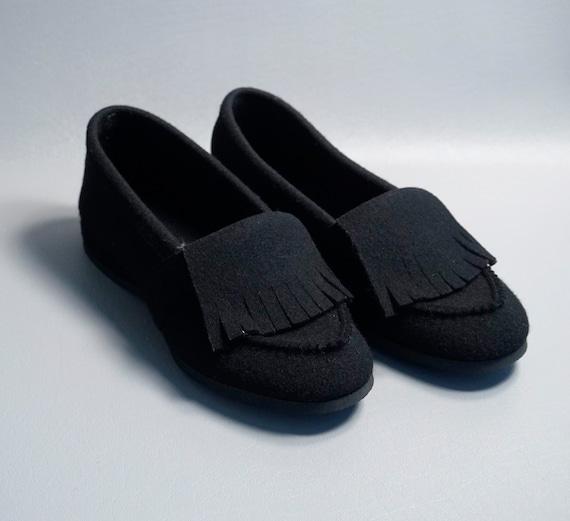 Vintage Slippers, Black Felt Slippers, Daniel Gree