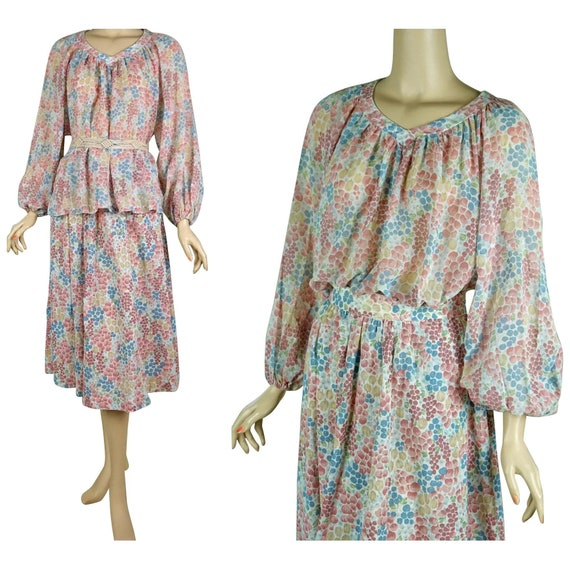Peasant Blouse and Skirt, 1970s 2 Piece Dress, Pea